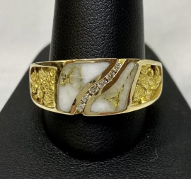 Man's Gold in Quartz Natural Nugget Ring with Diamonds RM731D14NQ