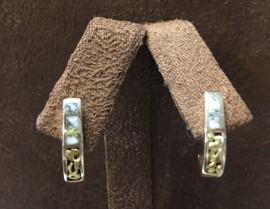 Gold in Quartz Nugget Post Dangle Ear Ring EM36NQ