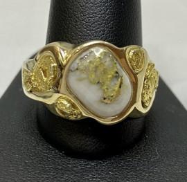 Man's free form Gold in Quartz Nugget Ring RMBS16NQ