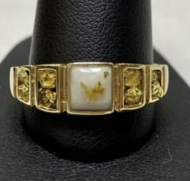 Man's Gold in Quartz Natural Nugget Ring RM1045NQ