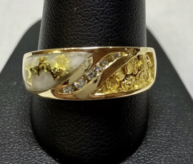 Mans Gold in Quartz Ring With Diamonds RMBSG1006DNQ