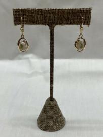 GOLD IN QUARTZ DANGEL EAR RINGS EN805Q/LB