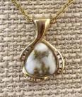 Gold in Quartz with Diamonds Pendant PDL1055D16.5AQX