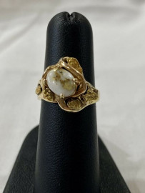 LADIES GOLD IN QUARTZ NUGGET RING RLBS120Q