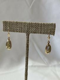 GOLD IN QUARTZ DANGEL EAR RINGS EN762Q/LB
