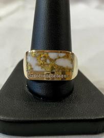 MAN'S GOLD IN QUARTZ DIAMOND RING RM1005DQ